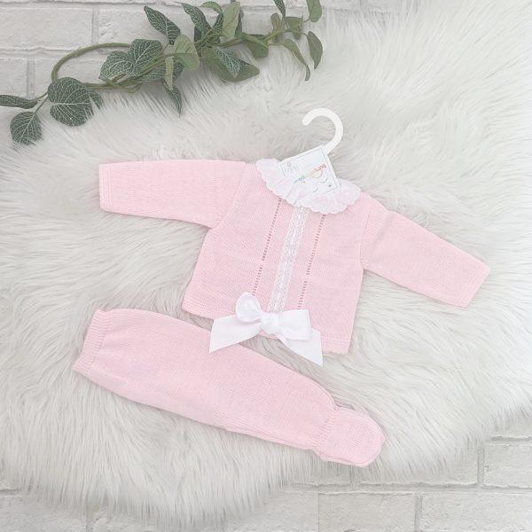 Baby Girls Pink And White Pram Set