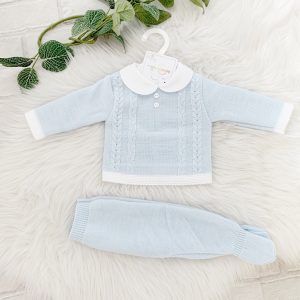 Baby Boys Blue Knitted Pram Suit