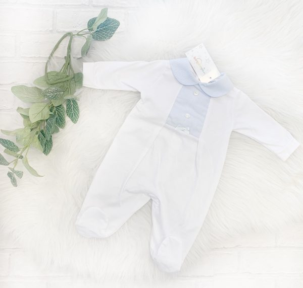 Baby Boys Blue & White Babygrow
