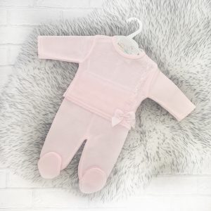 Baby Girls Pink Knitted Outfit with Bow
