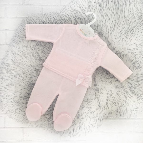 BABY GIRLS PINK TOP & TROUSER SET WITH BOW