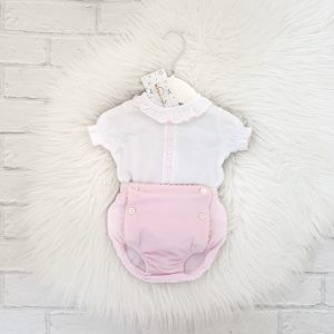 Baby Girls White & Pink Suit