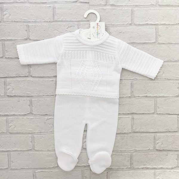 Unisex white knitted Diamond Pattern Outfit