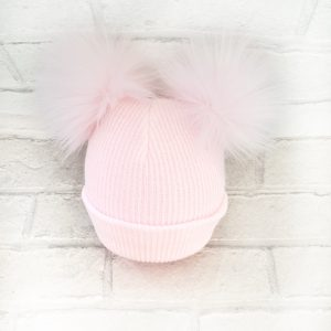 Baby Girls Pink Fur Double Pom Pom Hat for Winter