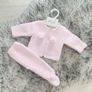 Baby Girls Pink Knitted Cardigan & Trouser Pram Set
