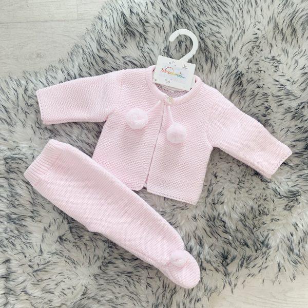 Baby Girls Pink Knitted Cardigan & Trouser Pram Set