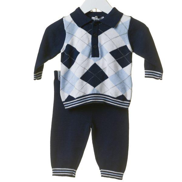 Baby Boys Navy Jumper & Trouser Set