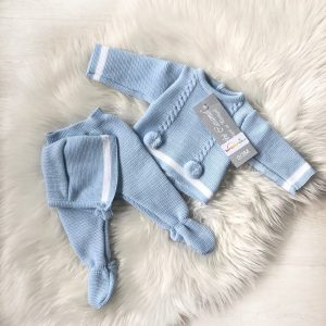 Baby Boys Blue & White 3 Piece Outfit