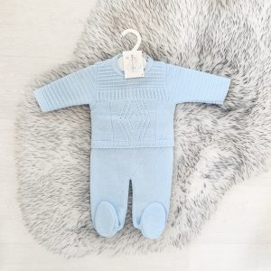 Baby Boys Blue Knitted Diamond Set