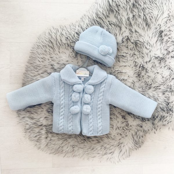 Baby Boys Blue Knitted Pom Pom Jacket Set
