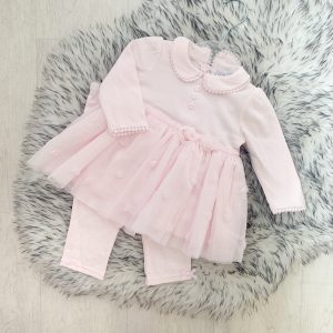 Baby Girls Pink Dress & Leggings