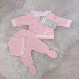 Baby Girls Pink & White 3 Piece Outfit