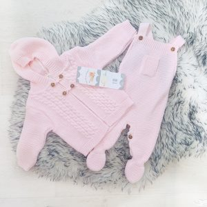 Pale Pink Knitted Cardigan & Dungaree Set