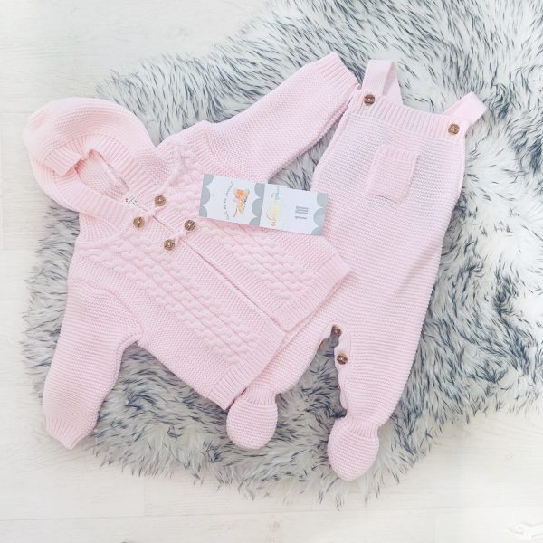 Pale Pink Knitted Cardigan & Dungaree Set