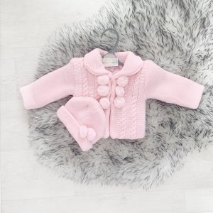 Baby Girls Pink Pom Pom Jacket and Hat Set