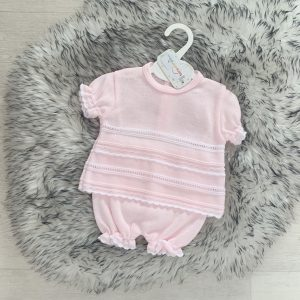 Baby Girls Pink Short Sleeve Top & Bloomers Set