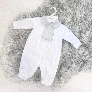 Unisex White & Grey Babygrow