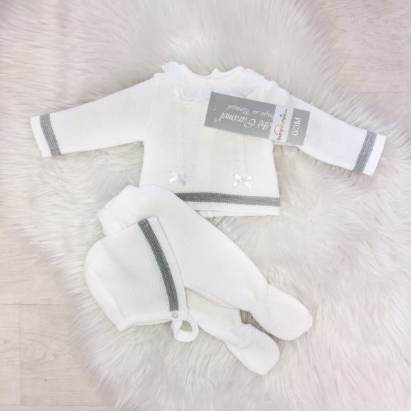 Unisex White & Grey 3 Piece Outfit