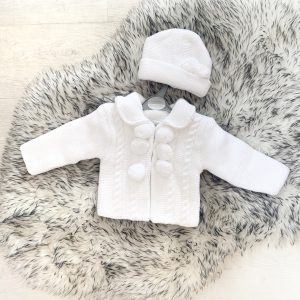 Unisex White Pom Pom Jacket And Hat Set