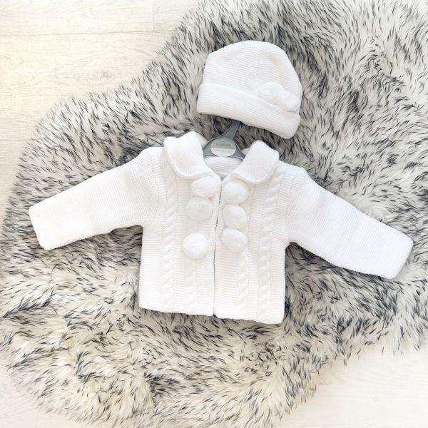Unisex White Pom Pom Jacket And Hat Set