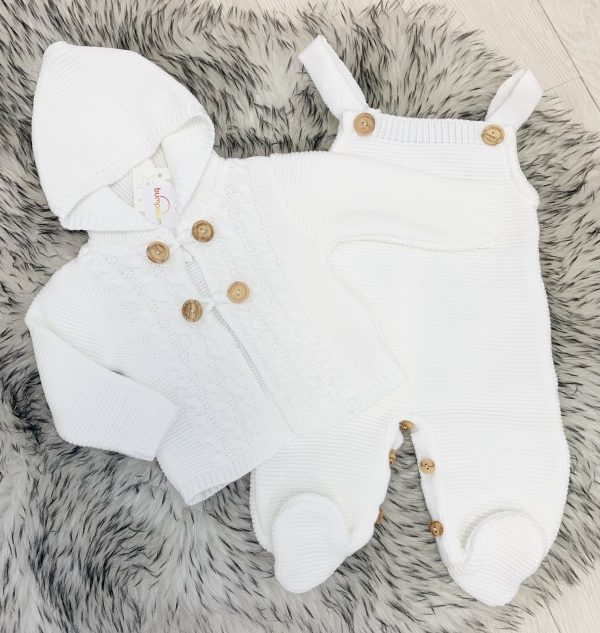 Unisex White Knitted Dungaree Outfit