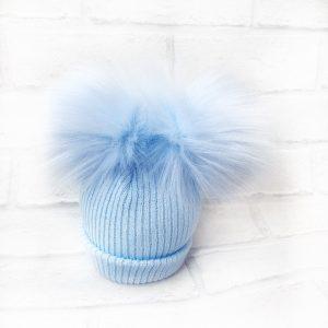 Baby Boys Blue Double Pom Pom Hat