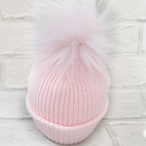 Baby Girls Pale Pink Pom Pom Hat