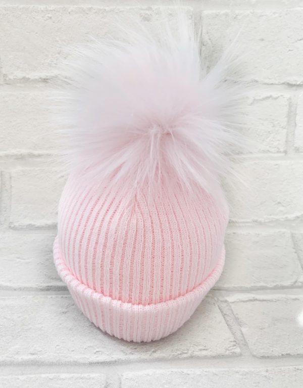 Baby Girls Pale Pink Pom Pom Hat