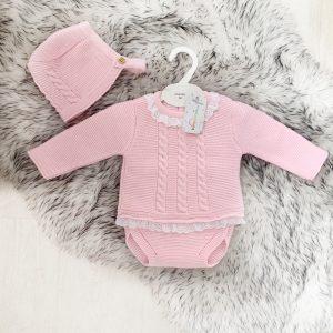 Baby Girls Jumper Bottoms & Bonnet Set