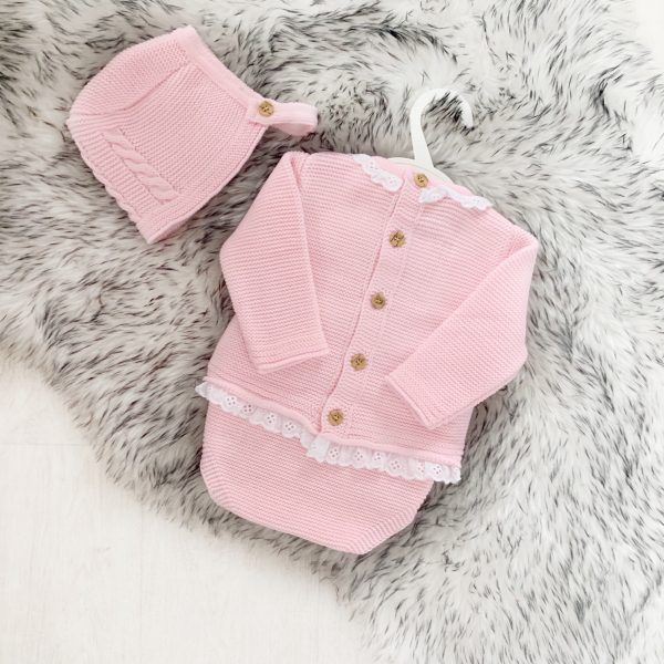 Baby Girls Jumper Bottoms & Bonnet Set