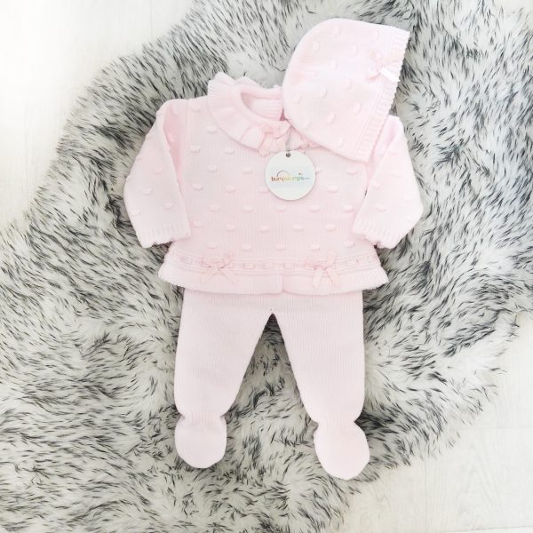 Baby Girls Pink Knitted Three Piece Set With Satin Bows