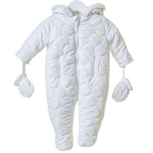 Unisex Baby White Snowsuit