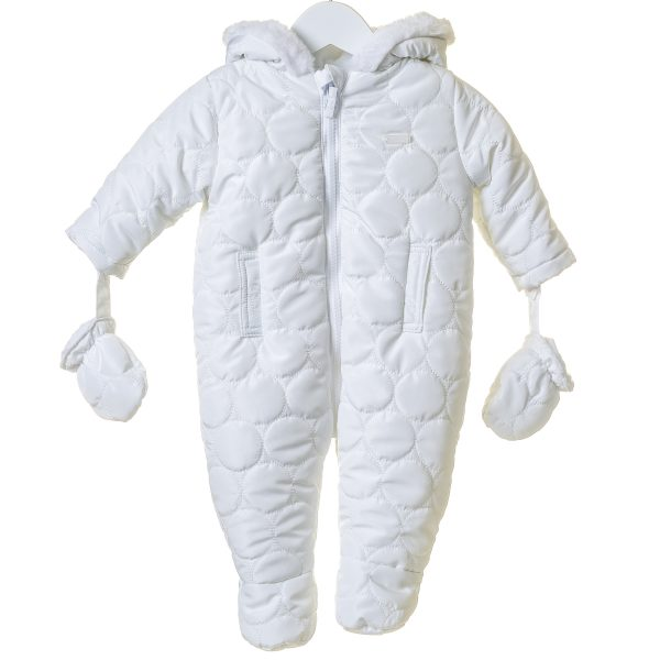 Unisex Baby White Snowsuit