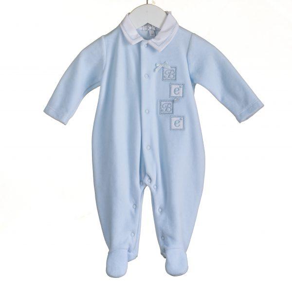 Baby Boys Blue Soft Velour Babygrow