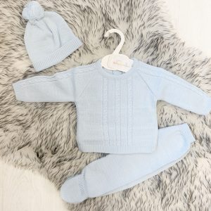 Baby Boys Girls Pink Blue Double Knitted 2 Piece Trouser Jacket Pram Suit Set