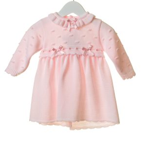 Traditional Spanish Style Baby Girls Pink Knitted Two Piece Outfit