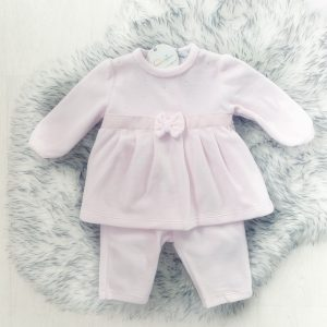 Baby Girls Soft Pink Velour Outfit