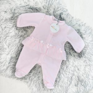 Baby Girls Pink Velour Babygrow