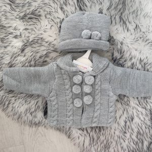 Unisex Grey Pom Pom Jacket and Hat Set