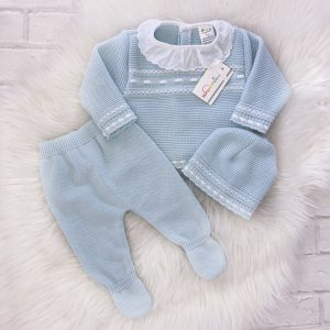 Baby Boys Blue And White Three Piece Pram Suit