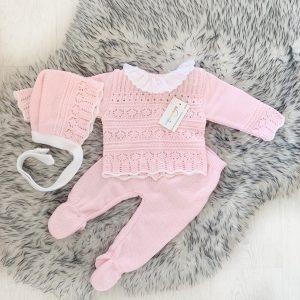 Baby Girls Pink & White Three Piece Crochet Set