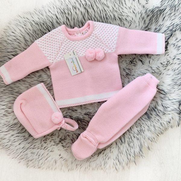 Girls Pink & White Three Piece Pram Set