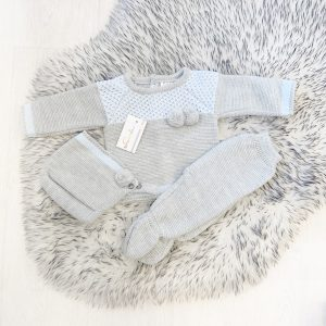 Baby Boys Blue & Grey Three Piece Pram Set
