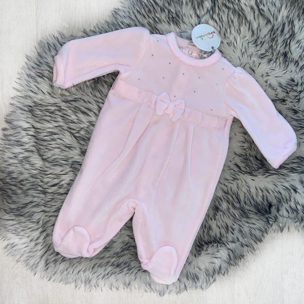 Baby Girls Soft Pink Velour Sleep Suit