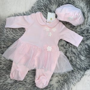 Baby Girls Pink Romper Suit & Hat