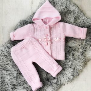Baby Girls Pink Knitted Jacket And Trouser Set