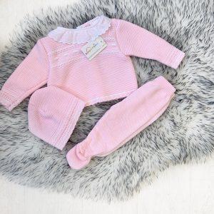 Baby Girls Pink Knitted 3 Piece Pram Set