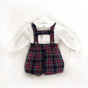 Baby Boys Two Piece Tartan Dungaree Set
