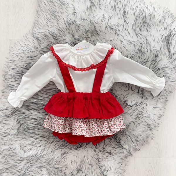 Baby Girls Red Floral Dungaree Set