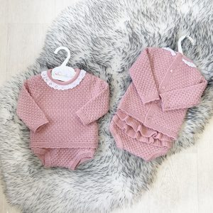 Baby Girls Dark Pink Knitted Outfit